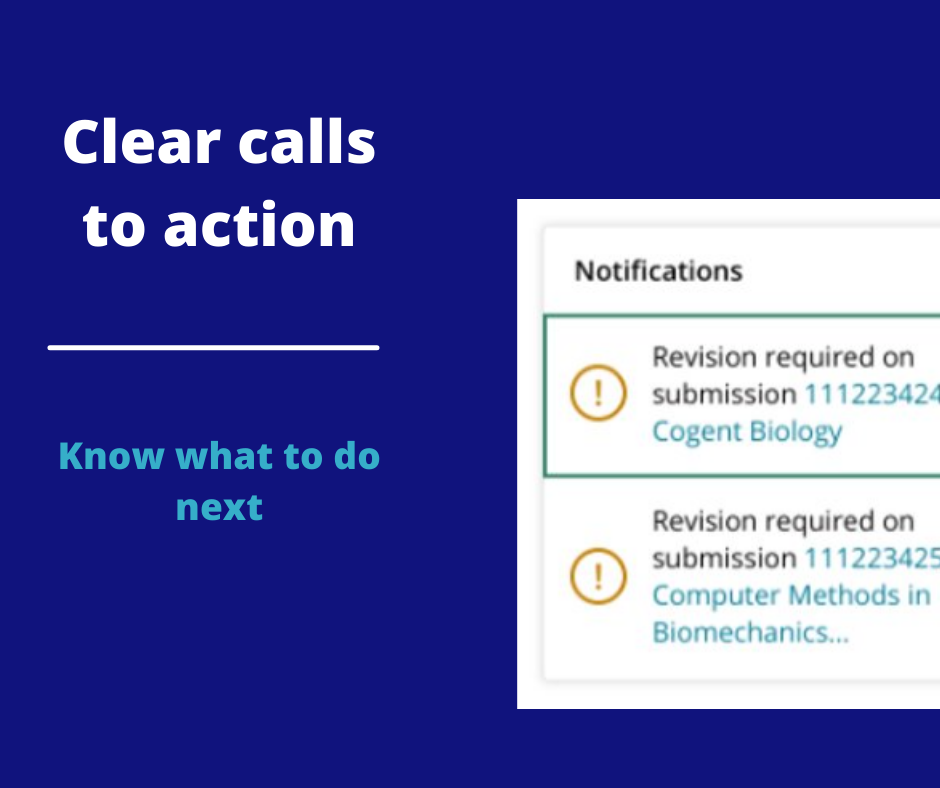 Preview of calls to action examples in Submission Portal
